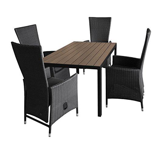 Multistore 2002 5tlg. Gartengarnitur Aluminium Gartentisch 150x90cm mit Polywood Tischplatte stapelbare Polyrattan Sessel inkl. Sitzkissen