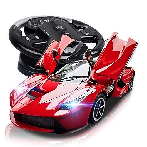 AIOJY Offene tür sport modell rc kinder elektroauto sport schock dasher stunt fahrzeug kinderspielzeug blinklicht kinder ostern geschenk 1/14 rot elektrische spielzeugauto drahtlose fernbedienung raci