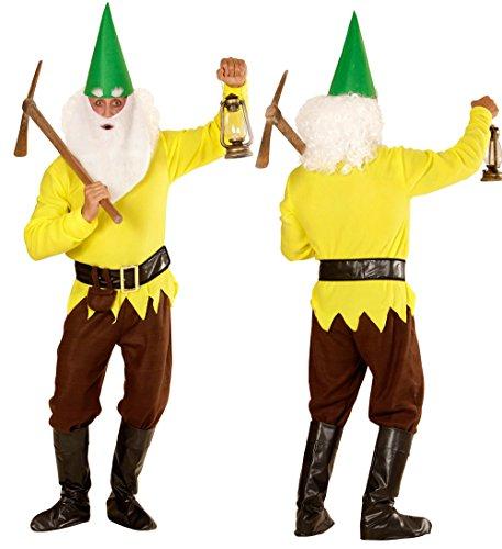 Checklife Kostüm Zwerg rot gelb blau grün Zwergenkostüm GNOME Faschingskostüm 901623 (Large, gelb) (Hat Grüne Gnome)