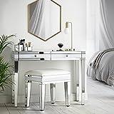 Beautify Console Coiffeuse Blanche à Effet Miroir avec 2 tiroirs et poignées en Cristal : mobilier de Chambre à Coucher Luxueux au Lustre Intense
