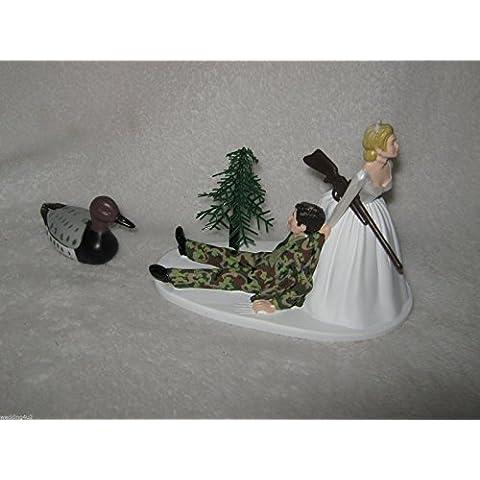 Humorous Camo Redneck Wedding Duck Fowl Hunter Hunting Cake Topper