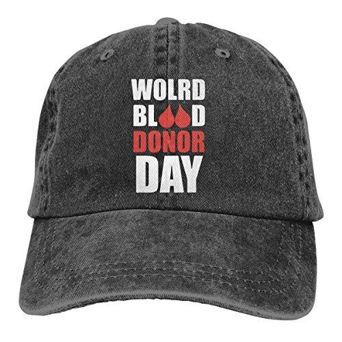 j65rwjtrhtr Men Women Adjustable Cotton Denim Baseball Cap World Blood Donor Day Trucker Cap