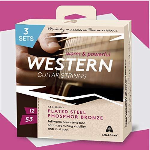 AMAZOUND Gitarrensaiten Western-Gitarre Phosphor Bronze (12-53), 3 Sets