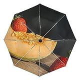 Ieararfre Regenschirm Strawberry Hgü Hami Melone Tri-Fold Regenschirme Winddicht, ergonomischer Griff, Verstärkte Kappe, automatisch öffnen/Schließen Mehrere Farben