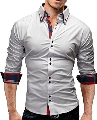 MERISH Slim Fit Hommes Chemise à manches longue Chemise bicolore Contrastes plaid adapté pour toutes les occasions, Modell 207 Blanc