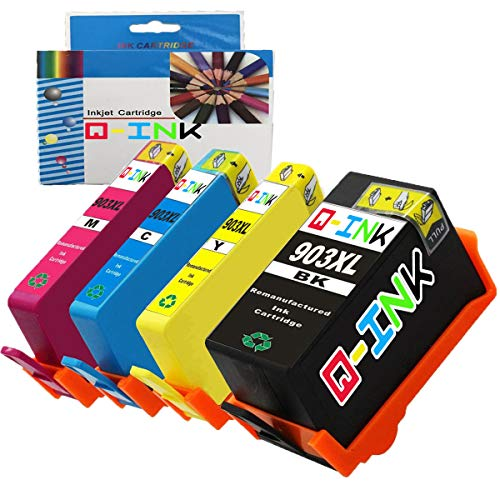 Qink Remanufacturados para HP 903XL 903 Cartuchos de tinta de alta Rentabilidad para Pro 6950 6960 6970 6975 Impresoras Officejet (1BK+1C+1M +1Y)