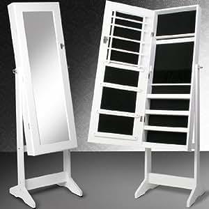 Miadomodo Schmuckschrank Standspiegel Spiegelschrank Schmuckregal mit Spiegel und Schlüssel in Weiß