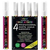 WHITE CHALK PEN Reversible Fine or Chisel Tip Pens - 6mm 4 Pack, Best for Bistro Menu Board Glass Window Markers kids art, Erasable Paint Markers, Brilliant Bold White Colour
