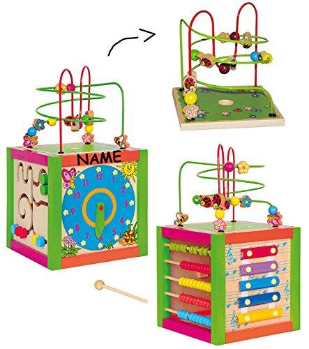 XL Motorikschleife + Spielwürfel aus Holz incl. Namen - Lernuhr + Zählrahmen + Schiebespiel + Xylophon + Schleife - Motorikwürfel / Tier Holzfigur zum Schieben / Ziehen - Motorikspielzeug - Spielzeug für Kinder Mädchen Jungen