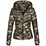 Marikoo Kuala Damen Jacke Steppjacke Übergangsjacke gesteppt XS-XXL 15Farben, Größe:S / 36;Farbe:Army