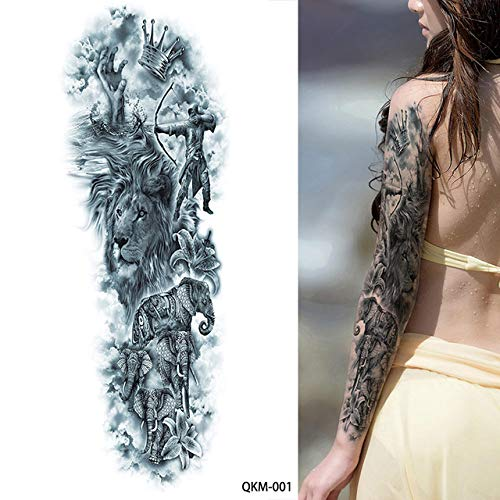 lihaohao Big Large Zeus Antike Griechische Mythologie Temporäre Tattoos Vollarm Bein Taille Kunst Tattoo Schönheit Krieger Aufkleber 48X17Cm 2St