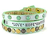 BB Edle Statement Nieten Wickelarmband in Türkis Love Hope Happiness