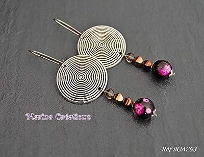 Longues boucles d'oreille style ethnique, bohême chic, crochets acier inox tons noir, rose, marron et doré, idée cadeau femme