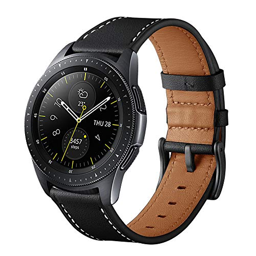 Aimtel Kompatibel mit Samsung Galaxy Watch 42mm Armbänd & Galaxy Watch Active 2 40mm/44mm Uhrenarmband, 20mm Leicht Einstellbares Echtleder Armband (Schwarz)