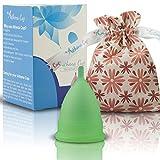 Athena Menstruationstasse - Die Nr. 1 unter den wiederverwendbaren Menstruationsbechern, inklusive Bonus-Tasche - Größe 2 in transparentem Grün - Garantierter Auslaufschutz