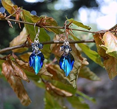 Boucles d'oreilles feuilles cristal bleu du Saphir avec cristaux Swarovski, bijoux forêt/romantique/elfique/féerique/dark mori/sorcière/elfe/pagan/païen/mori girl