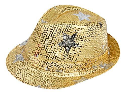 Alsino Paillettenhut Pailettenhut Pailletten Hut Disco-Hut Clubstyle Partyhut Trilby Hut Blink Fedora Bogart Glitzerhut Glitter (TH-83 Stern gold)