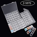 Diamant-Stick-Box 3 Stück, jede klare Aufbewahrungsbox mit 28 Mini-Fächern Gitter, 5D Diamant Malerei und Cross Stitch Tools Zubehörbehälter für DIY Kunst Handwerk