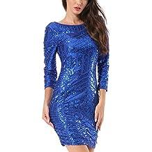Pailletten kleid blau langarm