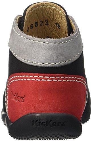 Kickers Bonbon, Chaussures Premiers pas Bébé Mixte Noir (Noir/Gris Clair/Rouge)