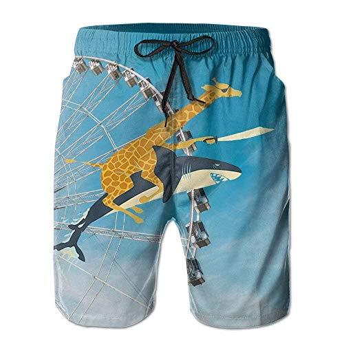 IconSymbol Lustige Giraffe reitet einen Hai Lustige Tier Badehose Schnelltrocknend Strand Boardshorts Männer Hosen Haushalt Shorts -