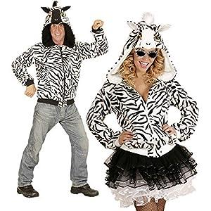 WIDMANN 07026?Adultos Disfraz Zebra, Sudadera con Capucha, Color Blanco, tamaño S/M