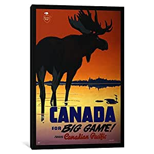 iCanvasArt 1 Piece Canada for Big Game 'Travel Canadian Pacific' Advertising Vintage Poster Canvas Print by Unknown Artist, 0.75 x 8 x 12-Inch