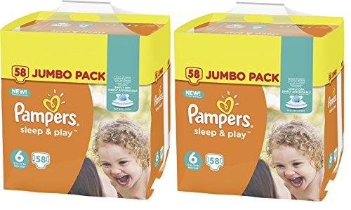 Preisvergleich Produktbild Pampers Sleep & Play Größe 6 Extra Large 15+kg Jumbo Pack 116 Windeln