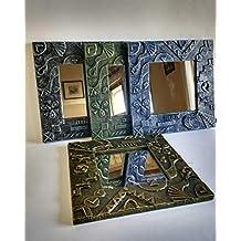 Espejo decorativo de pared en relieve de madera reciclada de palet, hecho a mano con