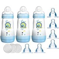 MAM Set Anti Colic Flasche 160ml /& 260ml Sauger Gr.1 /& Milchpulverspender f/ür Jungen
