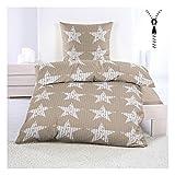 Sterne Bettwäsche aus Seersucker 135x200 cm mit Reißverschluss Bügelfrei Beige mit Kleinen Sternen