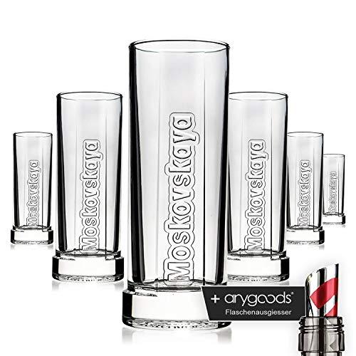 Anygoods - set di 6 bicchieri a forma di mosca con cristalli swarovski, stile vodka gastro bar