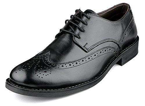 Escaro Men's 100% Genuine Leather Black Formal Brogue Lace Up Dress Shoes (ES3003KB_BLACK_10)
