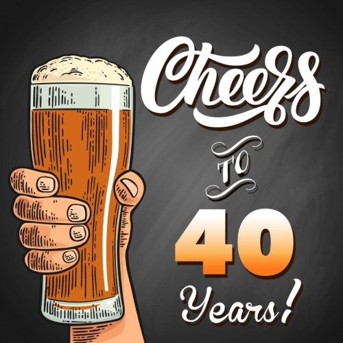 Cheers To 40 Years!: Black Guest Book For 40th Birthday Party Or Anniversary, 150 Pages To Write Comments In