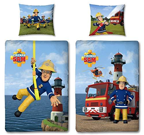 Character World Wende Bettwäsche Feuerwehrmann Sam, 100 x 135 cm 60 x 40 cm, 100{5d4f273aa0ac832a0c924d669837fc587412d8ce6c1444530eac170c961212e1} Baumwolle, Linon 2 Motive auf Einer Bettwäsche Reißverschluss