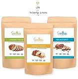 SlimBack - Lower Carb Brot-Backmischung - Probierpaket (3er Pack mit 3 Sorten) - Würzig - Natur -Walnuss - Weniger Kohlenhydrate* | Glutenfrei | Ballaststoffreich | Sojafrei | Hergestellt in Deutschland
