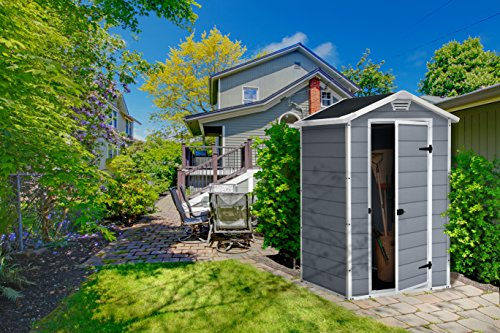 Keter Manor Outdoor Plastic Garden Storage Shed, 4 x 3 feet – Grey