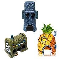 3 PCSHome Aquarium SpongeBob Figures Ornaments Pineapple House Squidward Easter Island Krusty Krab Fish Tank Decoration Decor