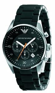 Emporio Armani AR5858 - Reloj cronógrafo de cuarzo unisex con correa de caucho, color negro de Emporio Armani