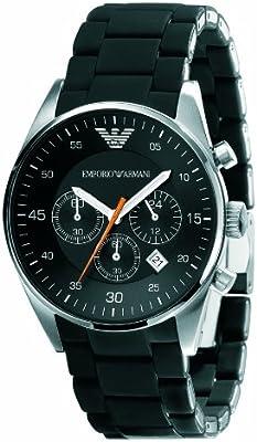 Emporio Armani AR5858 - Reloj cronógrafo de cuarzo unisex con correa de caucho, color negro