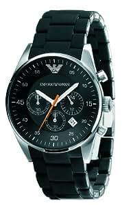 Emporio Armani - AR5858 - Montre Mixte - Quartz Chronographe - Chronomètre - Bracelet Caoutchouc Noir