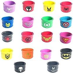KRUCE 18 Piezas Superhero Slap pulsera para niños y niñas, superhéroes Fiesta de cumpleaños suministros favores, incluye la nueva pantera negra y la pulsera del Superhéroe Capitán América