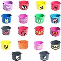 KRUCE 18 Piezas Superhero Slap Pulsera para Niños y Niñas, Superhéroes Fiesta de Cumpleaños Suministros