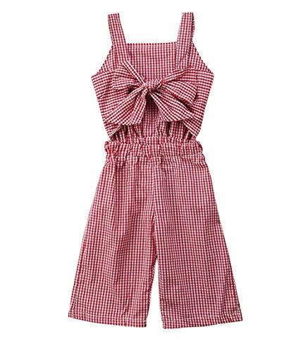 WANGSAURA Kinder Baby Mädchen Sommer Playsuit Bügel Bowknot Plaid Jumpsuit Spielanzug Overall Strampler Kleidung (0,5~5Jahre alt) (Baby Mädchen Kleidung Plaid)