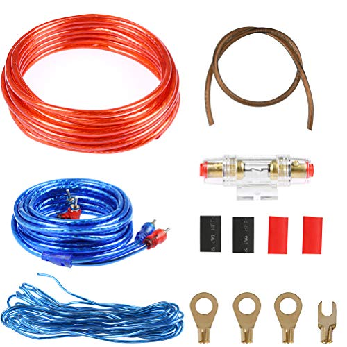 ATPWONZ 8GA Car Audio Wire Wiring Amplifier Subwoofer Speaker Installation Kit Power Cable 60 AMP Fuse Holder (Subwoofer Audio Kit)