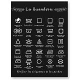 HYFBH Impression sur Toile français Symbole de blanchisserie Signe Noir et Blanc Affiche Murale Art Photo Toile Peinture buan