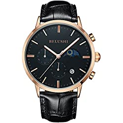 Mens Daytime And Night Display Watches Full Genuine Leather Male Waterproof Casual Dress Sport Wrist watches