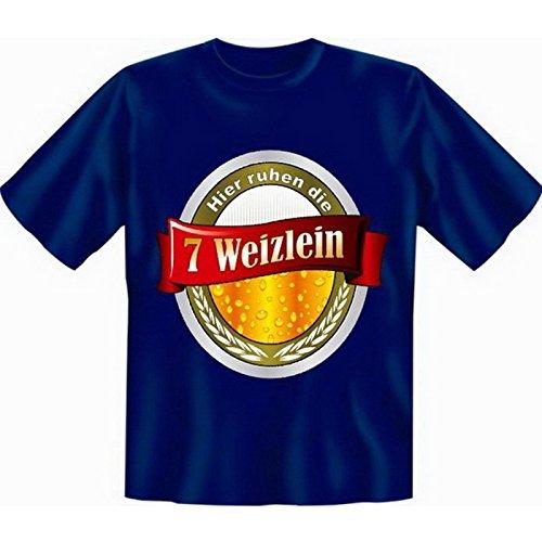 Originelles Funshirt! T-Shirt Set - Hier ruhen die 7 Weizlein - Plus einem gratis Gentleman Minishirt! Navy-Blau