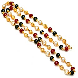 Jewar Mandi Chain 26 Inch Handmade Red White GREEN Pearl Polki One Gram Gold multicolour Necklace Set 7381 for womens girls