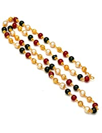 Jewar Mandi Chain 26 inch Fine Gold Plated Finish Handmade Work Multi-Pearl Jewelry 6945 for Women Girls Men